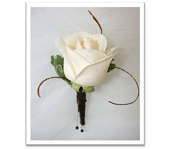 Single White Rose Boutonniere with Ting Ting Accents in Hudson NH, Anne's Florals & Gifts