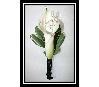 Double Mini Calla Lily Boutonniere with beads in Hudson NH, Anne's Florals & Gifts
