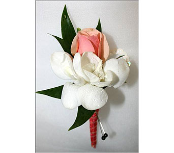 Spray Rose and Freesia Boutonniere in Hudson NH, Anne's Florals & Gifts
