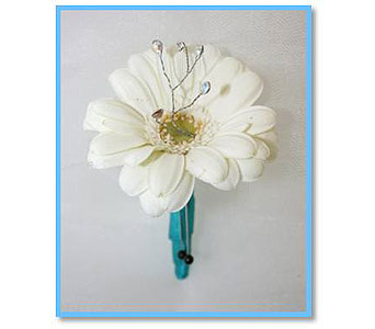 Mini Gerbera with gems and light Boutonniere in Hudson NH, Anne's Florals & Gifts