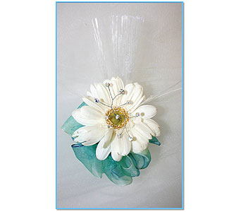 Mini Gerbera Corsage with gems and light in Hudson NH, Anne's Florals & Gifts