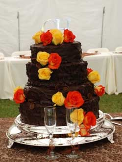 Bright Roses on Chocolate Cake in Cabool MO, Cabool Florist At Cleea's