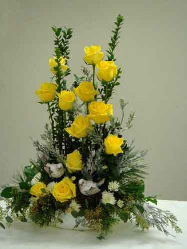 12 Yellow Roses with Birds in Cabool MO, Cabool Florist At Cleea's