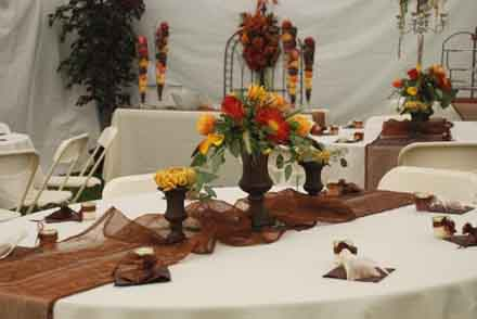 Wedding Recepttion Tables Autumn Outdoors in Cabool MO, Cabool Florist At Cleea's