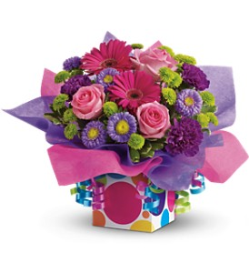 Teleflora's Confetti Present in Houston TX, Village Greenery & Flowers