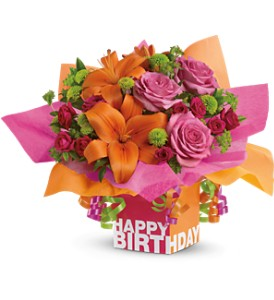 Teleflora's Rosy Birthday Present in Houston TX, Village Greenery & Flowers