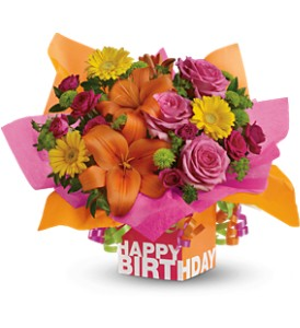 Teleflora's Rosy Birthday Present - Deluxe in Houston TX, Village Greenery & Flowers
