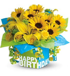 Teleflora's Sunny Birthday Present - Deluxe in New Castle DE, The Flower Place
