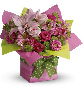 Teleflora's Pretty Pink Present in Philadelphia PA, Petal Pusher Florist & Decorators