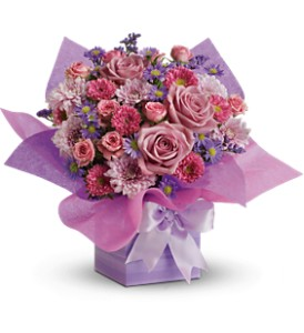 Teleflora's Perfectly Purple Present in Philadelphia PA, Petal Pusher Florist & Decorators
