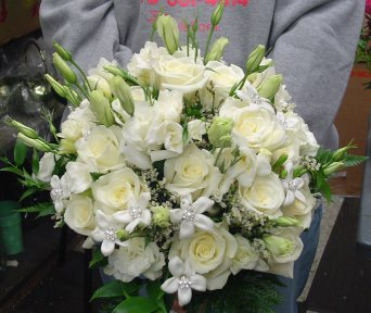 White Roses and Lisianthus Bridal Bouquet in Nutley NJ, A Personal Touch Florist