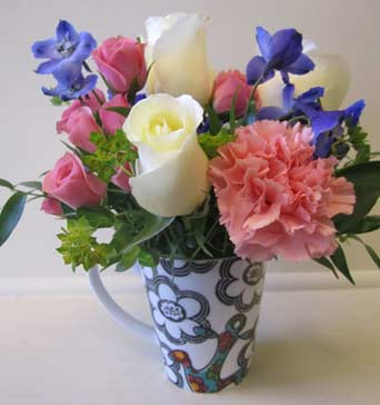 Sorority Mug with Roses in Fort Worth TX, TCU Florist
