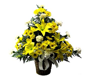 Yellow and White Sympathy Basket in Wyoming MI, Wyoming Floral
