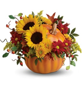 Teleflora's Pretty Pumpkin Bouquet in St. Petersburg FL, Artistic Flowers