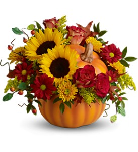Teleflora's Pretty Pumpkin Bouquet - Deluxe in Grass Lake MI, Designs By Judy