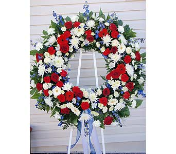 Red, white and blue funeral wreath in Smyrna GAFloral Creations