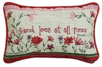 A Friend Loves at All Times Word Pillow in Niles OH, Connelly's Flowers