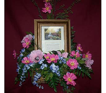 Memory Frame or stepping stone in a silk arrangeme in Bedford IN, Bailey's Flowers & Gifts