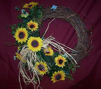 Custom made Grapevine Wreath with Silk Flowers in Bedford IN, Bailey's Flowers & Gifts