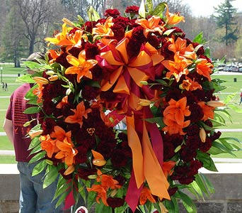 Orange and Burgundy Wreath in Blue Springs MO, Village Gardens