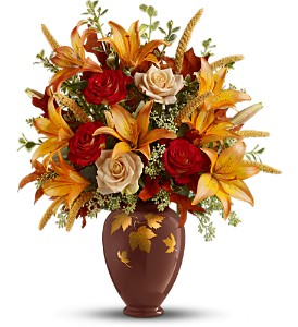 Teleflora's Falling Leaves Vase Bouquet - Deluxe in Rochester NY, Red Rose Florist & Gift Shop