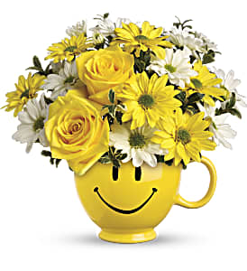 Teleflora's Be Happy Bouquet with Roses in Fairfield CT, Hansen's Flower Shop and Greenhouse