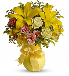 Teleflora's Sunny Smiles in Dubuque IA, New White Florist