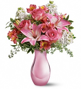 Teleflora's Pink Reflections Bouquet with Roses in San Jose CA, Rosies & Posies Downtown