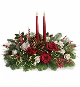 Christmas Wishes Centerpiece in Oklahoma City OK, Array of Flowers & Gifts