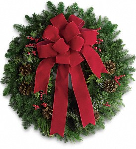 Classic Holiday Wreath in Manhasset NY, Town & Country Flowers