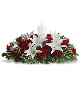 Luminous Lilies Centerpiece in St. Charles MO, Buse's Flower and Gift Shop, Inc