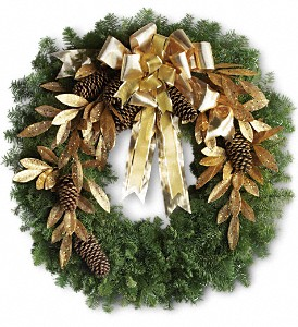 Glitter & Gold Wreath in East Providence RI, Carousel of Flowers & Gifts