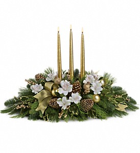 Royal Christmas Centerpiece in Visalia CA, Flowers by Peter Perkens Flowers Inc.