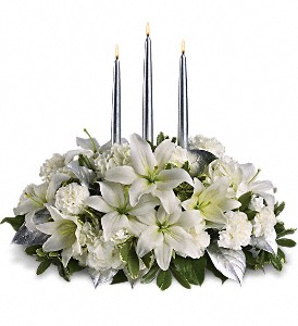 Silver Elegance Centerpiece in Weaverville NC, Brown's Floral Design