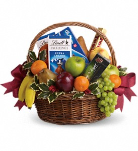 Fruits and Sweets Christmas Basket in New Lenox IL, Bella Fiori Flower Shop Inc.