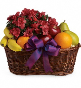 Fruits and Blooms Basket in Gothenburg NE, Ribbons & Roses