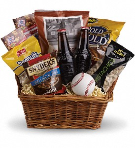 Take Me Out to the Ballgame Basket in Upland CA, Suzann's Flowers