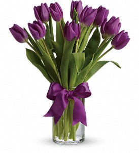 Passionate Purple Tulips in Gothenburg NE, Ribbons & Roses