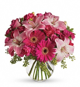A Little Pink Me Up in Mount Morris MI, June's Floral Company & Fruit Bouquets