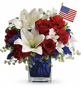 America the Beautiful by Teleflora in Brownsburg IN, Queen Anne's Lace Flowers & Gifts