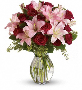 Lavish Love Bouquet with Long Stemmed Red Roses in Bement IL, Petals and Porch Posts