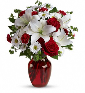 Be My Love Bouquet with Red Roses in Brownsburg IN, Queen Anne's Lace Flowers & Gifts