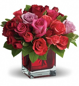 Madly in Love Bouquet with Red Roses by Teleflora in Redwood City CA, A Bed of Flowers