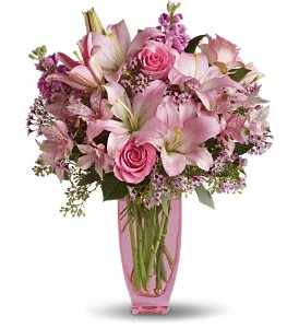 Teleflora's Pink Pink Bouquet with Pink Roses in Farmington CT, Haworth's Flowers & Gifts, LLC.