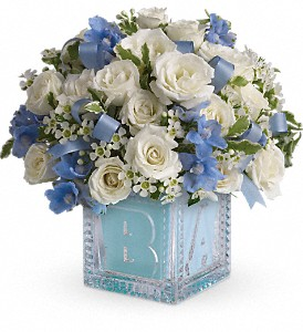Baby's First Block by Teleflora - Blue in Warsaw KY, Ribbons & Roses Flowers & Gifts