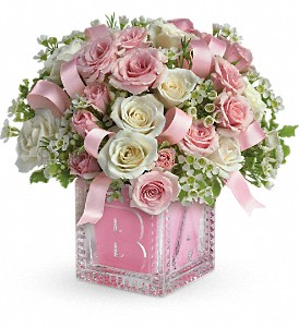 Baby's First Block by Teleflora - Pink in Warsaw KY, Ribbons & Roses Flowers & Gifts