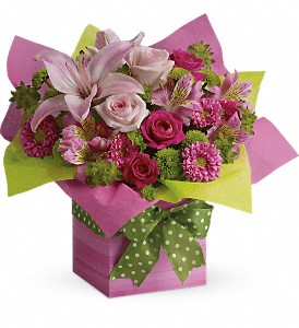 Teleflora's Pretty Pink Present in Sylmar CA, Saint Germain Flowers Inc.