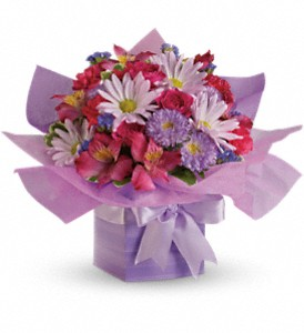 Teleflora's Lovely Lavender Present in Peoria IL, Flowers & Friends Florist