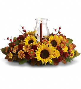 Sunflower Centerpiece in Chapmanville WV, Candle Shoppe Florist