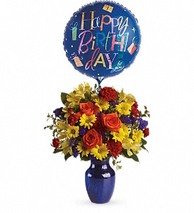 Fly Away Birthday Bouquet in Lewiston ME, Val's Flower Boutique, Inc.